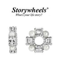 STORYWHEELS 295 silver charm bead - PEARL & WHITE TOPAZ. Wedding, bride RRP £70