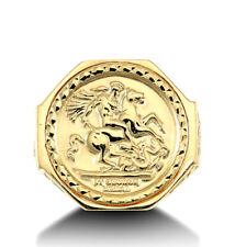 De St George Anillo Sólido 9 Quilates Oro Amarillo Hexagonal Británico Hecho Ley