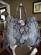 MICHAEL KORS LEATHER HAMILTON TRAVELLER PYTHON EMBOSSED BAG