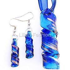 Gold Blue Aqua Handmade Lampwork Glass Murano Pendant Wax Necklace Earrings Set