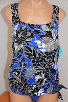 NWT Swim Solutions Swimsuit Tankini 2 pc set Plus Size 20 20W Blu Maya Blouson