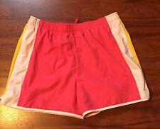 Nike Short L Women Pink Athletic Fitness Running Elastic Waist White Yellow