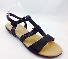 Plus Size Womens EVANS Black Flat Leather Knot Sandals size UK 9EEE PLUS SIZE