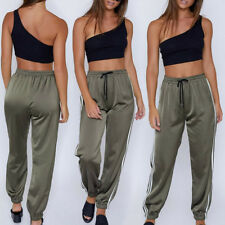 Sweatpants Women Jogger Casual Baggy Side Striped Satin High Waist Trouser Pants