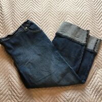 Next Maternity Women's Cropped Jeans Size 14 Turn-Ups Blue Denim Elastic Waist