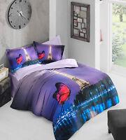 3D Paris Night Eiffel Tower 100% Cotton Sateen Duvet Cover Bedding Set Double