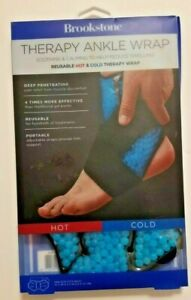 Brookstone THERAPY ANKLE WRAP Reusable Sports Foot Ice Hot Cold Gel Pack * NEW *