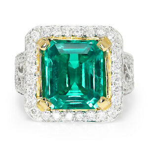 Large Emerald Halo Ring with Accents 18K Two-Tone Gold 6.04ctw