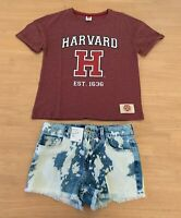 Girls size 10 Burgundy HARVARD  t-shirt & blue white dyed denim short Target NEW
