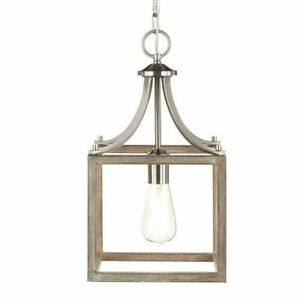 NEW!!  HOME DECORATORS Boswell Quarter 9.44 in. 1-Light Brushed Nickel Pendant