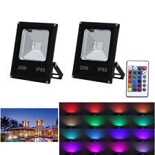 2X 20W LED RGB Fluter Scheinwerfer Farbig Gartenstrahler IP65 Außen Flutlicht