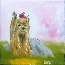 """Tableau original de Caillon 15x15 cm """"princesse"""" chien peinture yorkshire"""
