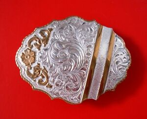 Crumrine Heavy Silver on Bronze Reno NV Southwest Western Belt Buckle