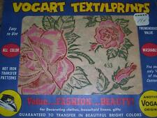 VINTAGE VOGART TEXTILPRINTS #433- PINK & RED ROSE HOT IRON TRANSFER PATTERN   FF