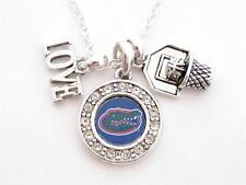 Florida Gators Multi Charm Love Basketball Blue Silver Necklace Jewelry UF