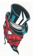 DEVIL WITH BLACK TOP HAT Temporary Tattoo