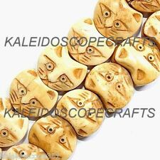CARVED BONE KITTY CAT HEAD FACE BEAD LARGE 15X18MM BEADS B15