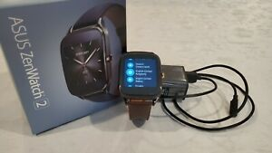 ASUS ZenWatch 2 Smartwatch WI501Q Black Stainless Steel - Brown Leather Strap