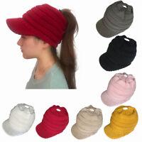 Fashion Women's Stretch Knit Hat Messy Bun Ponytail Beanie Winter Warm Hole Hat