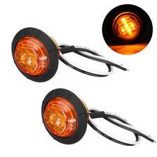 2x Amber Round 6 LED Side Maker Light Turn Signal Lamp Car Truck Trailer Bus 12V
