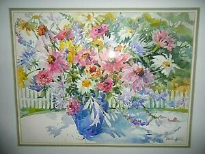 ORIGINAL WATERCOLOR PAINTING OF FLOWERS ARTIST SIGNED LINDA HALL