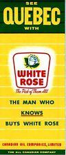 1959 Canadian Oil White Rose Road Map: Quebec NOS