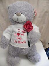 SOFT TOY 'I LOVE YOU SO MUCH' GREY BEAR