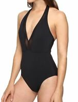 Women's Tommy Bahama Mesh Solids Plunge Halter One Piece Swimsuit Black Size 10