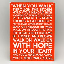 LIVERPOOL FC Metal Sign YOU'LL NEVER WALK ALONE Football YNWA Door Wall Man Cave