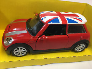 New Mini Hatch Model Toy Car Vehicle Diecast Child Adult Union Jack Roof RED