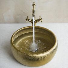 Gold Paint Ceramic Vessel Sink Set Counter Top Basin Bathroom Set Mixer Faucet