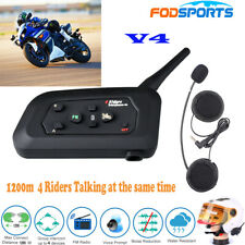 V4 1200M 4Riders 4Way Intercom Motorcycle Bluetooth Helmet headset FM Interphone
