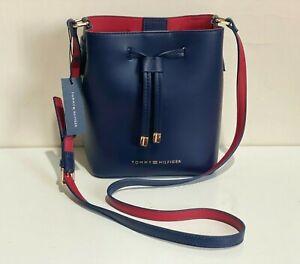 NEW ! TOMMY HILFIGER HANNAH NAVY BLUE / RED BUCKET CROSSBODY SLING BAG SALE