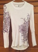 Fox Racing Women Fitted Thermal Size S Small Long Sleeve White/Purple VGUC