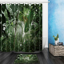 Tropical Jungle Waterproof Polyester Fabric Bathroom Shower Curtain 12Hooks