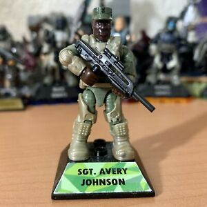 HALO MEGA CONSTRUX SGT. JOHNSON FROM 20TH ANNIVERSARY PACK *CUSTOM BASEPLATE*