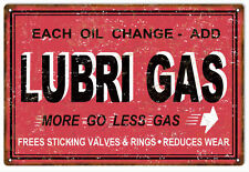 Reproduction Aged Lubri Gas Valves And Rings Motor Oil Sign