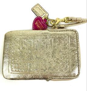 Coach Poppy Wristlet Bag Metallic Gold Embossed Leather Wallet Purse