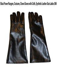 Costume Power Ranger Super Hero Halloween Black LambSkin Leather Gloves Ladies L