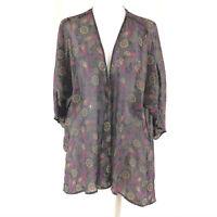 Lularoe Womens Shirley Kimono Cardigan Sheer Paisley Purple Size S