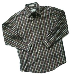 Orvis Shirt Men Medium Black Orange Plaid Button Up Collared Long Sleeve Casual