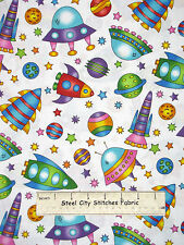 Space Ship Saucer Toss Cotton Fabric RJR 2039 Welcome To My World White YARD
