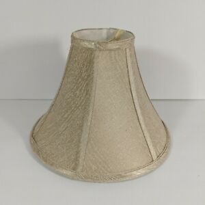 """Beige Fabric Bell Lampshade Cloth Lining Spider Fitter 11 1/8"""" w x 8 1/4"""" t"""