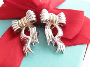 Tiffany & Co Silver 18K Gold Bow Ribbon Gorgeous Clip On Earrings