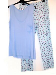Ladies lovely night home wear set pyjama bottoms🦋 M&S and top Pep&Co Size 16-18