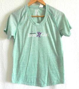 Athleta Iron Girl Graphic T-Shirt Scoop Neck Raglan/Short Sleeve Cotton Blend M