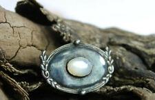 Vintage Brosche Biedermeier Jugendstil oval Silber 925
