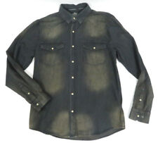 Harley-Davidson Men's NWT Gray Washed Chambray Button Down LS Shirt 96409-18VM