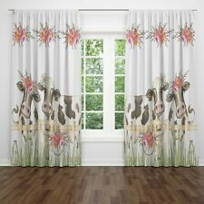 Farmhouse Window Curtains, Floral Cow Valance, Country Window Treatments