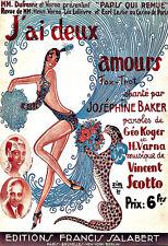 L'ARTE Annuncio J 'ai Deux AMORI Josephine Baker Ballerina Danza Deco Poster stampati